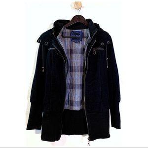Free People Black Wool Hooded Coat, Sz 8